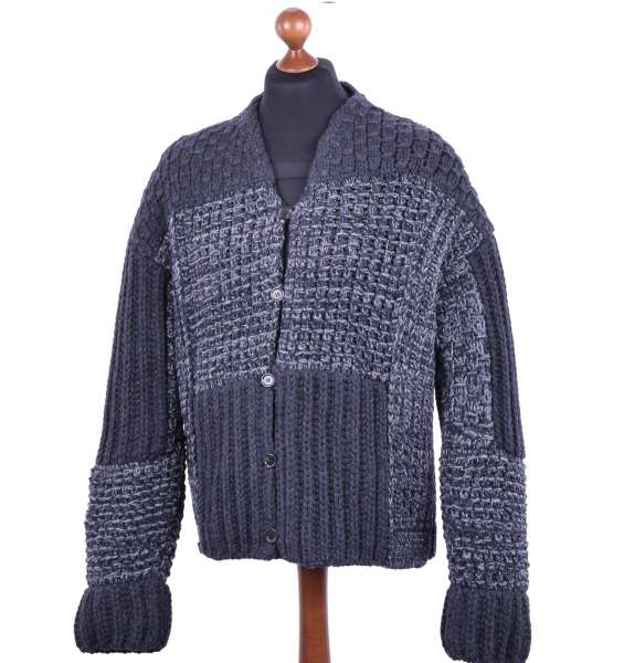 Knitted Virgin Wool Oversize Cardigan in Knight Style by DOLCE & GABBANA Black Label