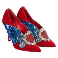 Velvet Sacred Heart Wings Embroidered Pumps LORI Red