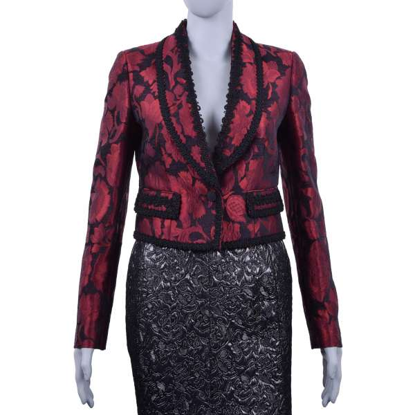 Embroidered spanisch torero style blazer / jacket made of viscose brocade by DOLCE & GABBANA Black Line