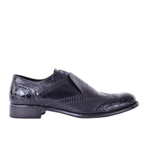Exotic patchwork leather oxford shoes with hidden laces in a high quality gift box by DOLCE & GABBANA Black Label