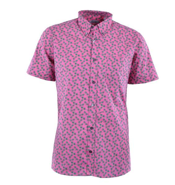 """Printed Short Sleeves Cotton Shirt """"Sunglasses"""" by MOSCHINO First Line"""