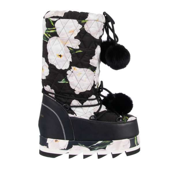 Cortina Quilted Plateau Snowboots / Boots with tulip print in black and white by DOLCE & GABBANA
