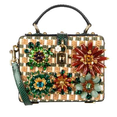 Unique Snakeskin Clutch Bag DOLCE BOX with Crystals Flowers Green