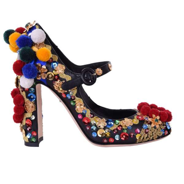 Sicily style embroidered nappa leather Mary Jane pumps embellished with pom poms, sequins applications, crystals and mirrors by DOLCE & GABBANA Black Label