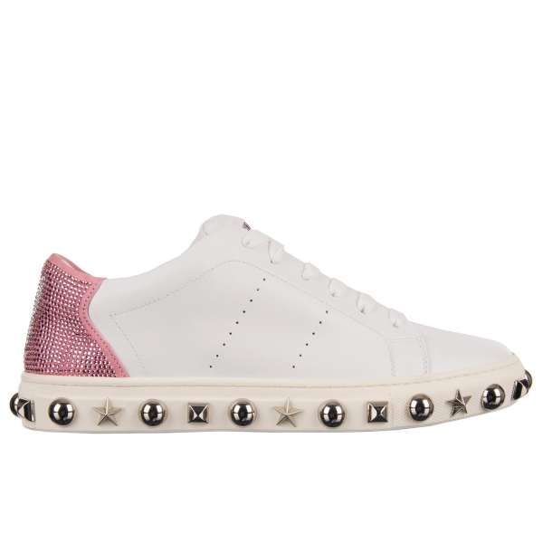 Low-Top Sneaker in white and fuxia with crystals embellished Plein and Playboy logos, studded sole and tongue with Philipp Plein metal logo by PHILIPP PLEIN X PLAYBOY