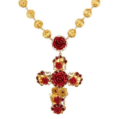 Baroque Crystals Rose Cross Chain Gold Red