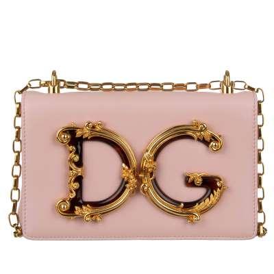 Baroque Nappa Leather Logo Clutch Crossbody Bag DG GIRLS Pink