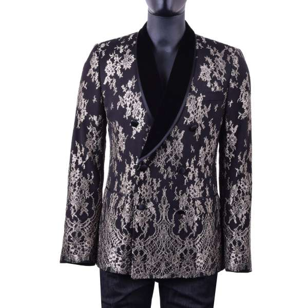 Double-breasted baroque style virgin wool blazer covered with bronze shade lace by DOLCE & GABBANA Black Label