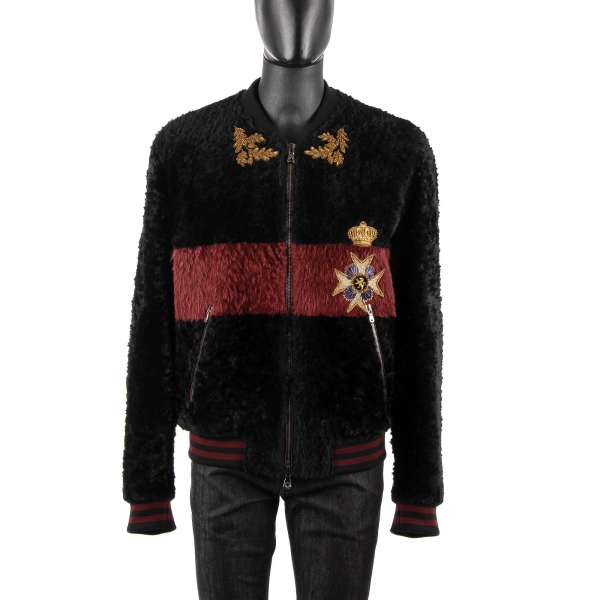 """Military / Royal Fur Bomber Jacket with hand embroidered large coat of arms """"Nobili Di Sicilia"""" at the back and a crown, medal and leafs in front by DOLCE & GABBANA"""