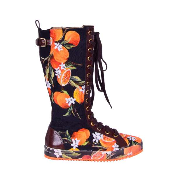 Leather and Brocade, Orange printed High Sneaker Boots with Zip, lace and buckle fastening by DOLCE & GABBANA Black Label