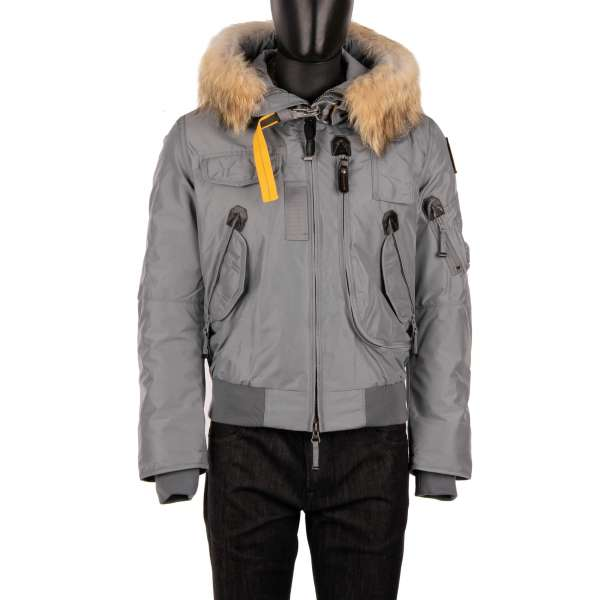 Short Bomber / Down Jacket GOBI with a detachable real fur trim, hoody, many pockets and a removable down-filled lining in Agave Gray