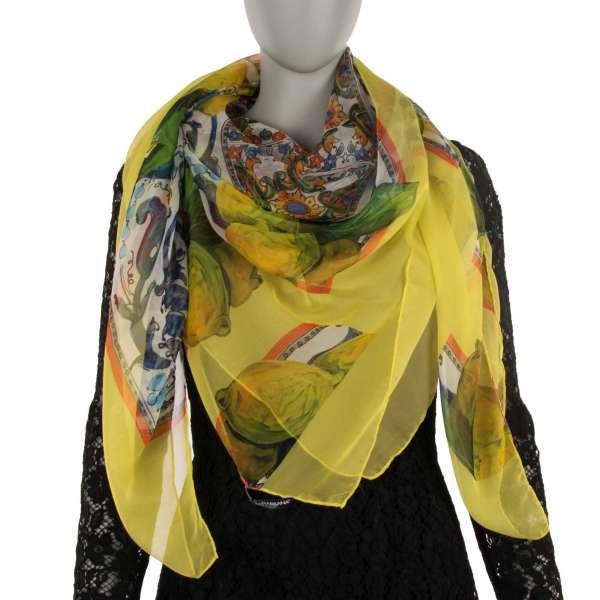 Majolica and Lemons Printed Silk Scarf / Foulard by DOLCE & GABBANA Black Label