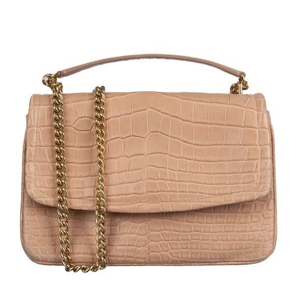 Exclusive Crocodile Leather bag / shoulder bag MARGHERITA with pockets and logo plaque by DOLCE & GABBANA Black Label