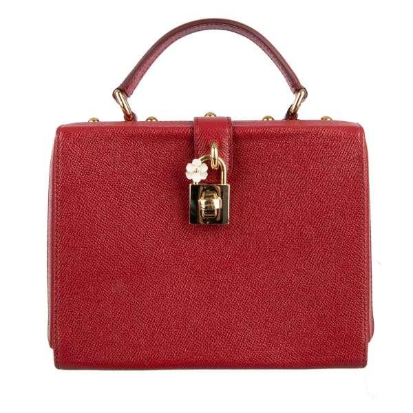 Clutch Handtasche DOLCE BOX aus Dauphine Leder mit Nieten und dekorativem Schloss von DOLCE & GABBANA