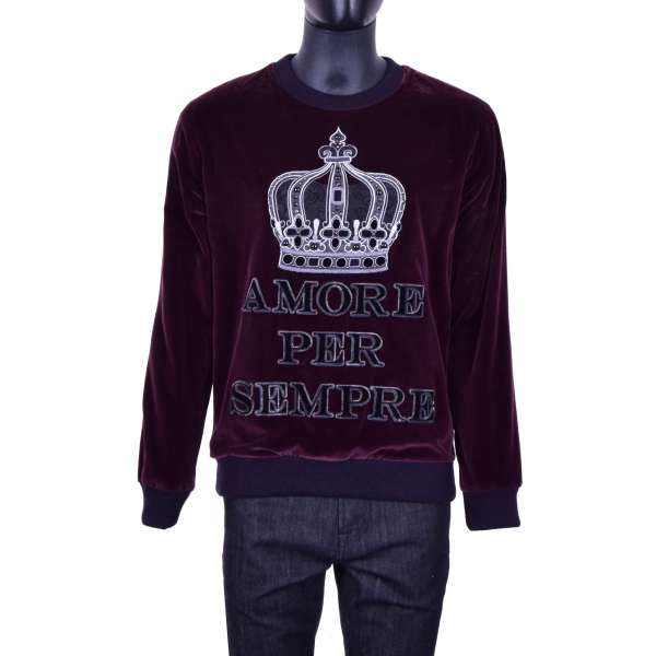 Velvet sweater with studded crown embroidery and inscription AMORE PER SEMPRE in purple and black by DOLCE & GABBANA Black Line