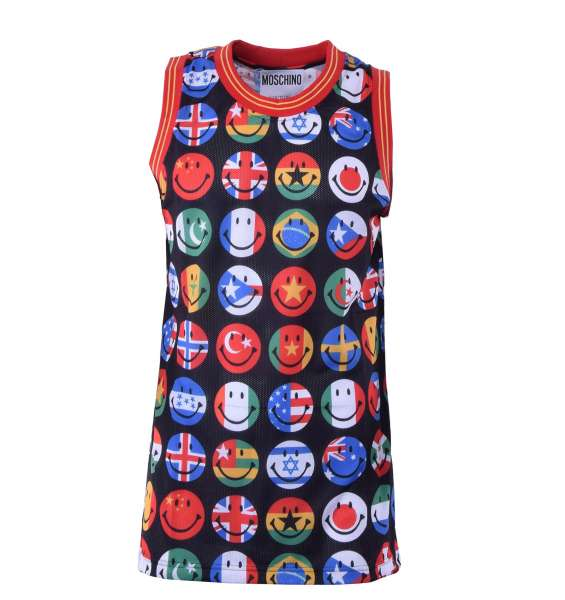 Tank Top mit Aufdruck von Flaggen in Smiley Form von MOSCHINO COUTURE