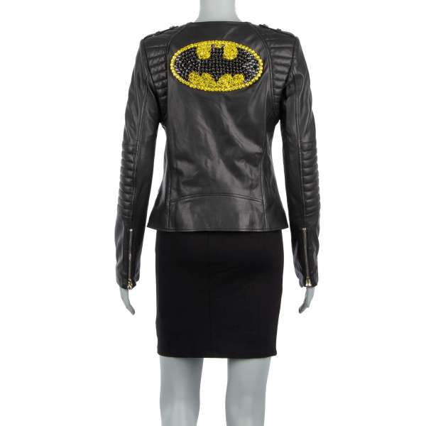 Leather Jacket BAT GIRL with crystal embroidery on the back in black by PHILIPP PLEIN COUTURE