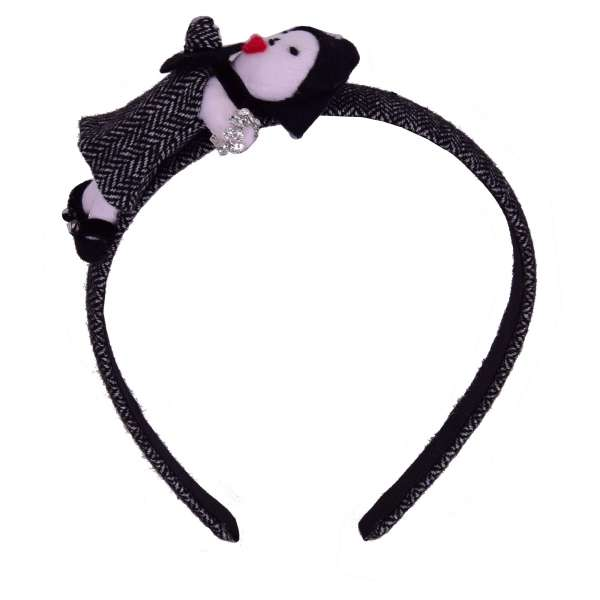 Hairband embelished with Doll and Crystals in White and Black by DOLCE & GABBANA