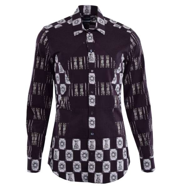 Armor printed patchwork cotton shirt with short collar and cuffs by DOLCE & GABBANA Black Label - GOLD Line
