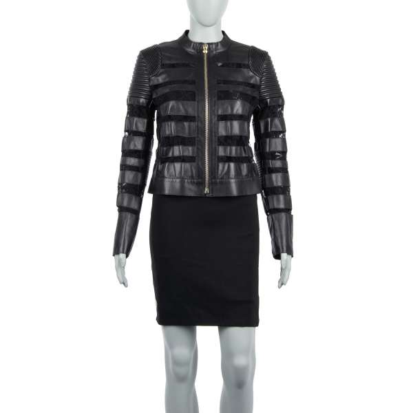 Leather Biker Jacket PRIORITY with floral lace in black by PHILIPP PLEIN COUTURE