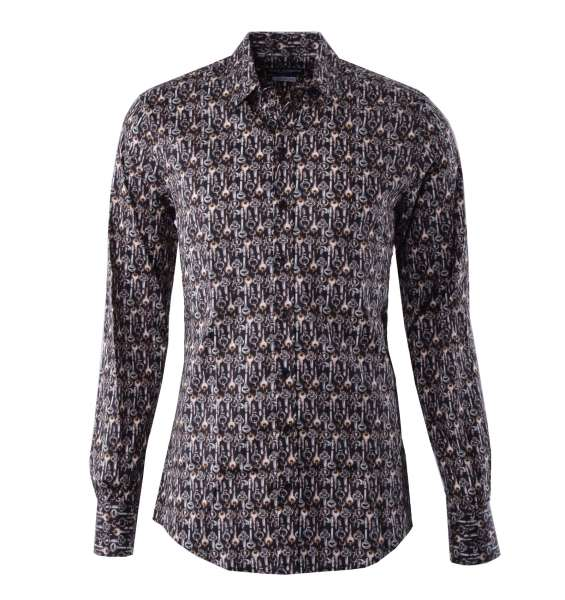 Keys printed shirt with short collar and cuffs by DOLCE & GABBANA Black Label - SICILIA Line