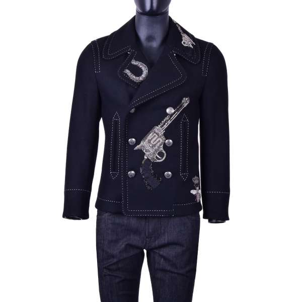 Double-Breasted warm biker style jacket made of wool with pistols, bee and crown embroidery by DOLCE & GABBANA Black Line