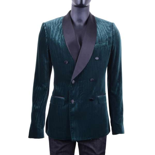 Double-Breasted Moiré Velvet Baroque Style Tuxedo Jacket with silk black contrast collar by DOLCE & GABBANA Black Label