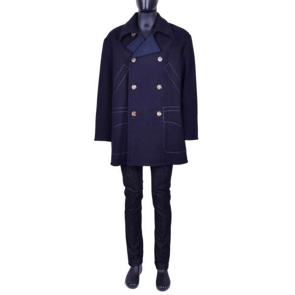 Double-breasted Wide Cut Virgin Wool Short Coat in Black and Blue by DOLCE & GABBANA Black Line