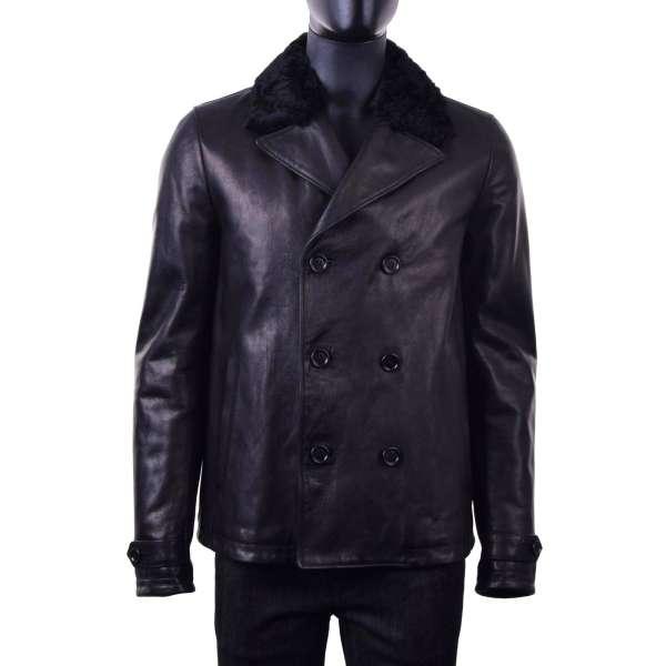 Gefütterte Lederjacke aus Leder-Mix mit zwei Knopfreihen und Montone Pelz-Kragen von DOLCE & GABBANA Black Label