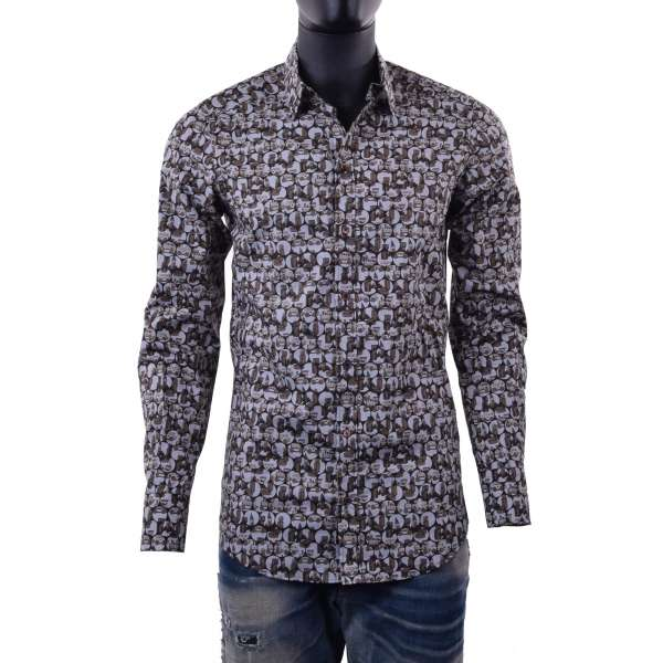 Retro toys printed cotton shirt with short collar by DOLCE & GABBANA Black Label- GOLD Line