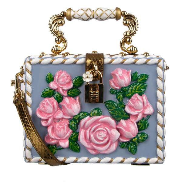 Ceramic vases inspired, hand-painted Top Handle Clutch Bag / Handbag DOLCE BOX made of wood with embossed roses and studs, stars and snakeskin details by DOLCE & GABBANA Black Label