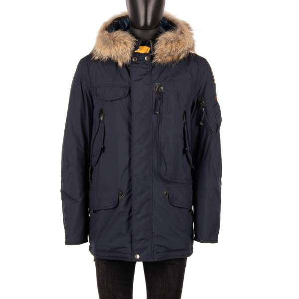 - Parka / Down Jacket RIGHT HAND LIGHT made of light polyester-polyurethane poplin shell with a detachable real fur trim, hoody, many pockets and a down-filled lining in Navy Blue