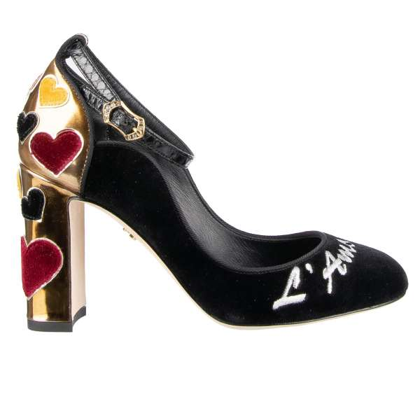 Velvet Ankle Strap Pumps VALLY in black and gold with silver embroidered L'Amore, hearts embellished block heel and snakeskin ankle strap by DOLCE & GABBANA