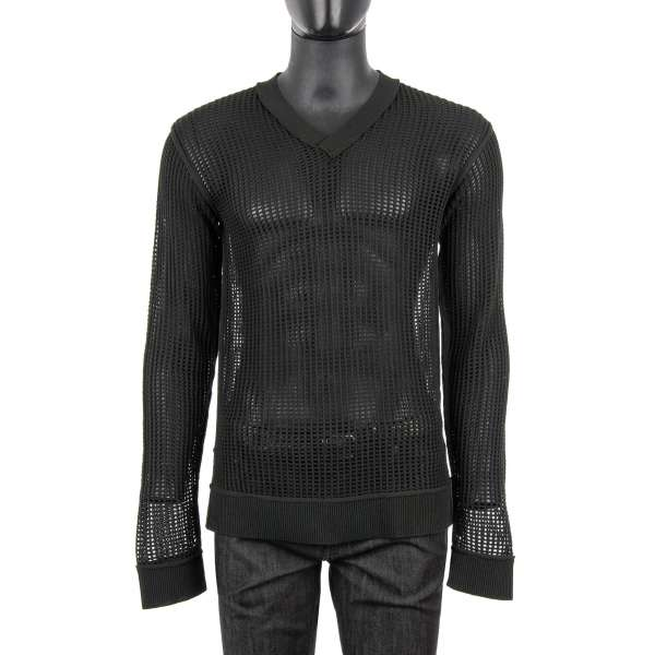 Transparent V-Neck Sweater with Net Structure by DOLCE & GABBANA