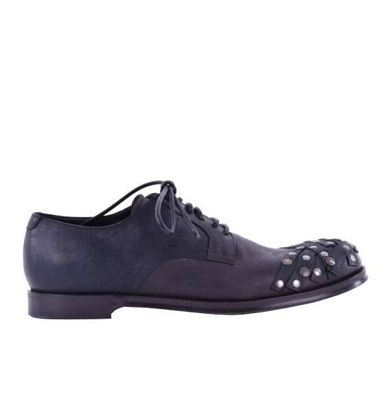 Lace Up Calfskin Shoes SIRACUSA with Studs by DOLCE & GABBANA Black Label