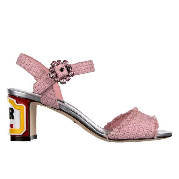 """Ankle strap raffia sandals KEIRA with hand painted """"Italian Bar"""" heel and crystal closure in pink by DOLCE & GABBANA Black Label"""