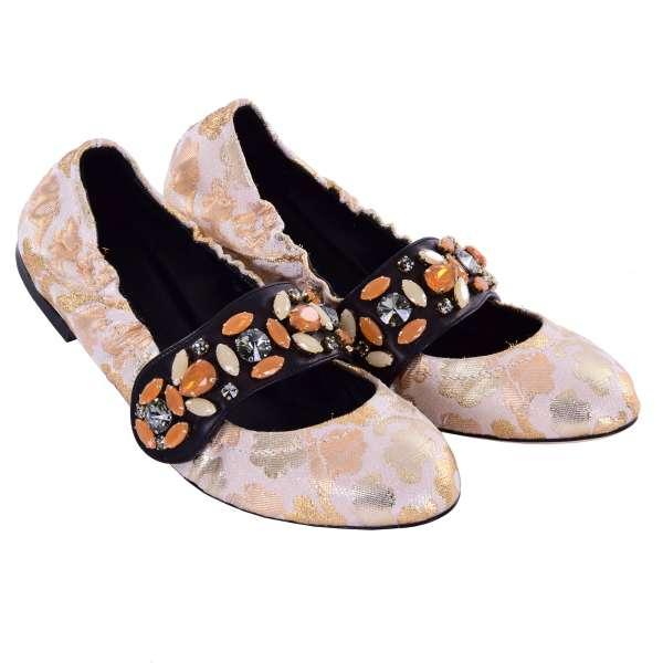 Elastische Brokat Ballerinas VALLY mit Riemen-Verschluss verschönert mit Kristallen von DOLCE & GABBANA Black Label