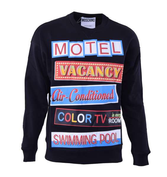 """Sweatshirt with colored """"Motel"""" motive print by MOSCHINO COUTURE"""