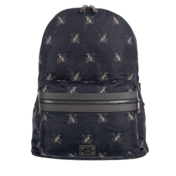 Monkeys embroidered backpack made of nylon and dauphine leather with logo plate and outer pocket by DOLCE & GABBANA