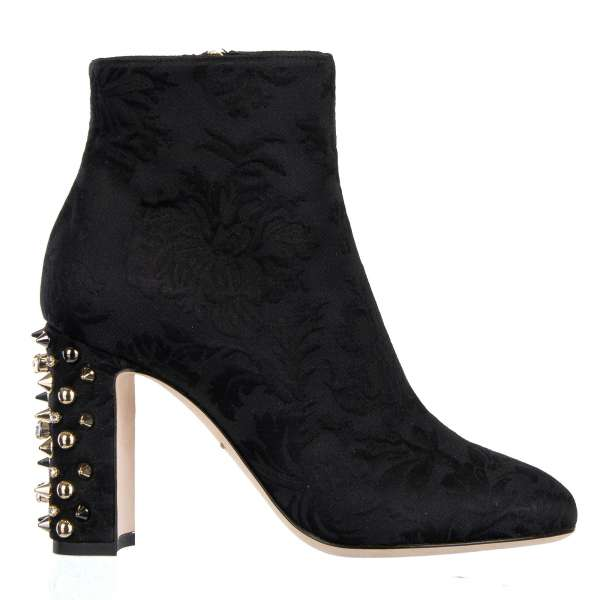 Brocade Short Boots VALLY with crystals and studs embellished heel in black by DOLCE & GABBANA Black Label