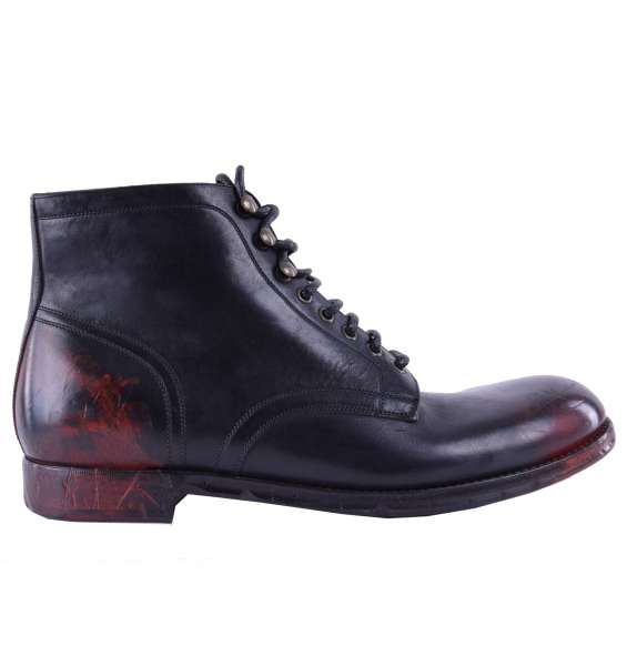 "Bi-Color Calfskin Ankle Boots ""Siracusa"" by DOLCE & GABBANA Black Label"
