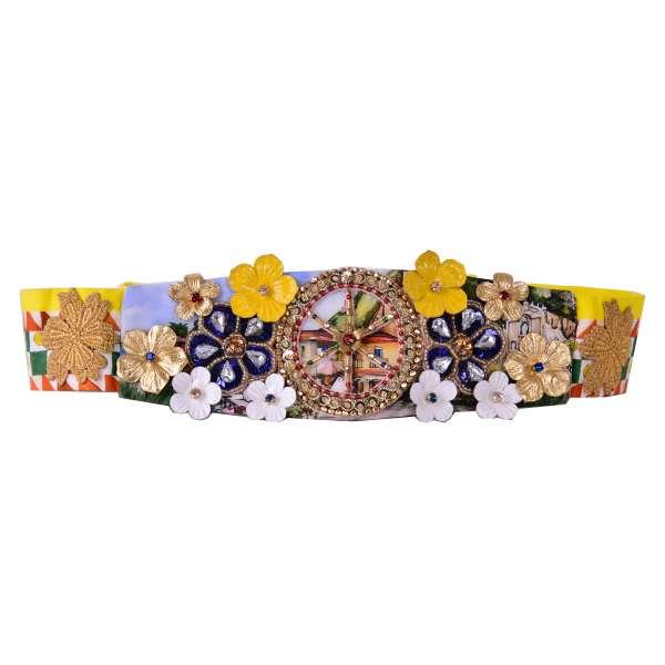 Gürtel / Haarschleife aus Baumwolle mit Carretto Siciliano Print und Stickerei aus Kristallen und Leder von DOLCE & GABBANA Black Label