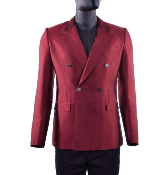 Double-Breasted summer blazer made of wild silk by DOLCE & GABBANA Black Line