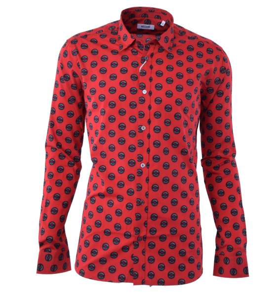 """Printed Cotton Shirt with """"Buttons"""" Print by MOSCHINO First Line"""