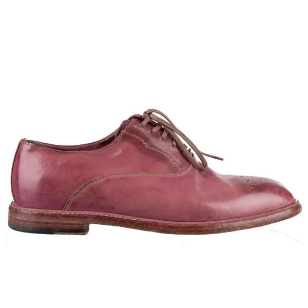 Vintage / Used Look Derby Shoes MARSALA made of calfskin with brogue decoration by DOLCE & GABBANA