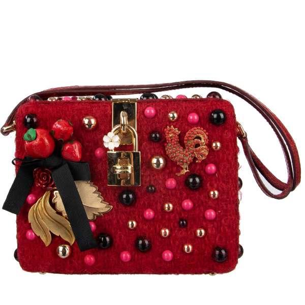 Seltene Clutch / Abendtasche DOLCE BOX mit mehrfarbigen Nieten, Blättern aus Messing, Hahn und Beeren Broschen und Trägern aus Krokodilleder von DOLCE & GABBANA Black Label
