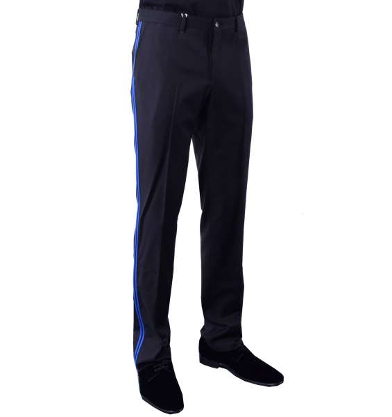 Slim Fit Trousers with Contrast Stripes by MOSCHINO First Line