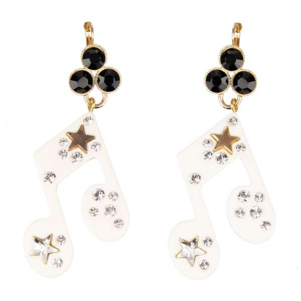 """""""Stelle"""" Music Earrings with Crystals and Star in Gold, White and Black by DOLCE & GABBANA"""