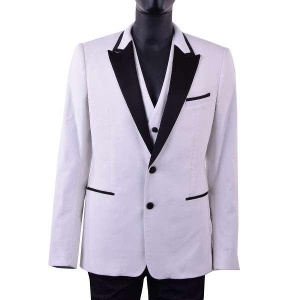 Velvet tuxedo blazer with vest with a contrast black silk collar by DOLCE & GABBANA Black Label