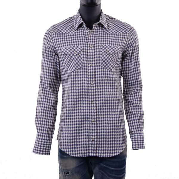 Men's Long Sleeve Snap Front Western Style checked Shirt by DOLCE & GABBANA Black Label - SICILIA Line